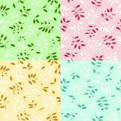 Vector ilustración de un conjunto de un grunge hojas inconsútil centrico — Vector de stock
