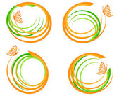 Vector illustration of a set of a green waves with orange butter — Stock Vector