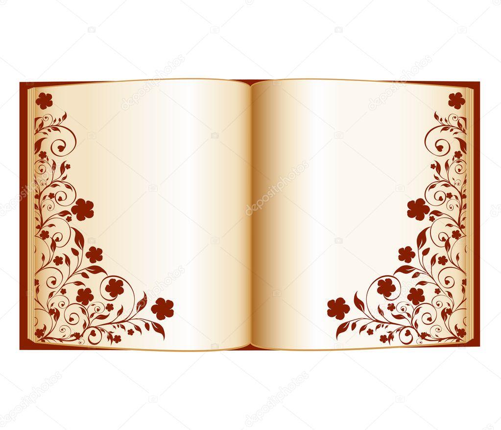 vector illustration dun livre ouvert avec d coration florale isola image vectorielle trinochka. Black Bedroom Furniture Sets. Home Design Ideas