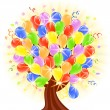 Stock Vector: Vector illustration of a balloons tree