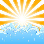 Vector illustration of a sun with the waves and water drops — Stock Vector