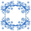 Vector illustration of a blue floral frame with butterflies. — 图库矢量图片