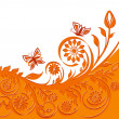 Vector de stock : Vector illustration of a floral background with butterflies.