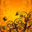 Vector illustration of an orange floral ornament with butterfly. - Stock Vector