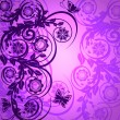 Vector illustration of a purple floral ornament with butterfly - Stock Vector