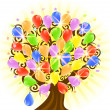 Vector illustration of a tree with ballons. Eps10 - Stock Vector