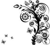 Ilustracja wektorowa kwiatowy ornament z motylami. — Wektor stockowy