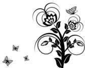 Vector illustration of a floral ornament with butterflies. — Stock Vector