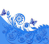 Vector illustration of a blue floral frame with butterflies. — Stock Vector