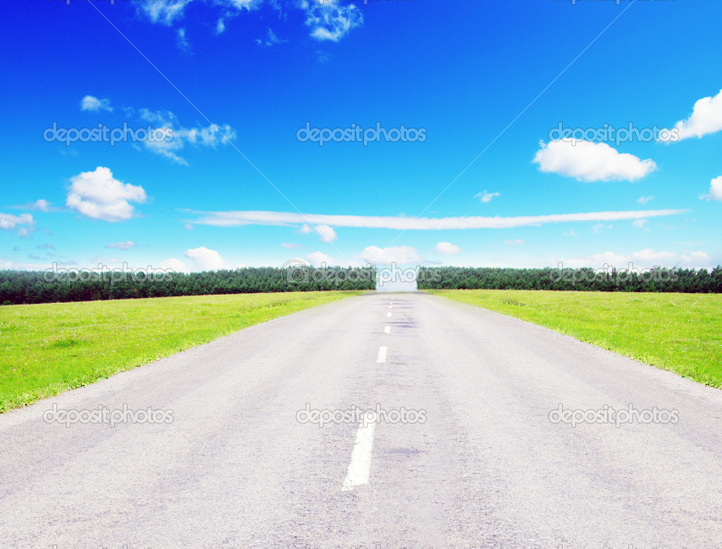 Green field and along  road — Stock Photo #6645159