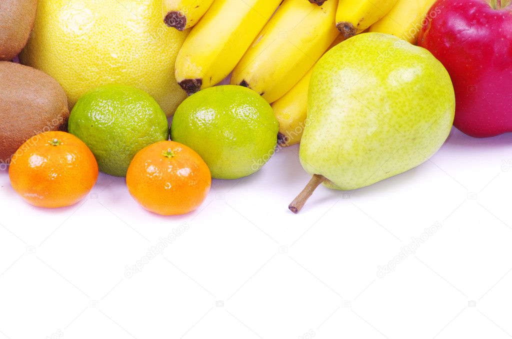 Composition with fruits isolated on white — Stock Photo #6645177