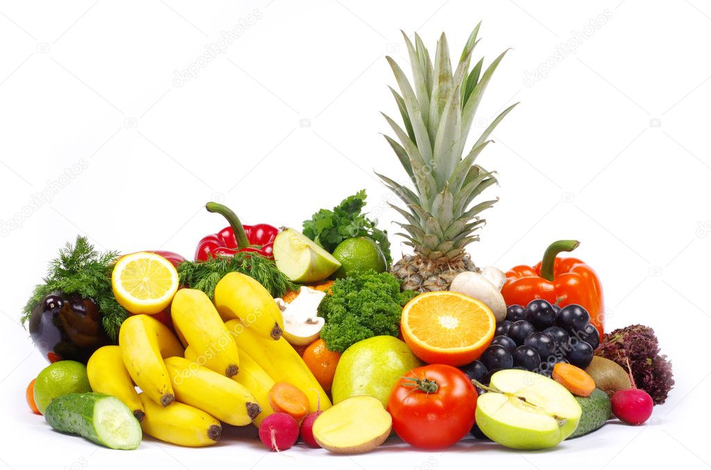 Vegetables and fruits on white  Stock Photo #6645188