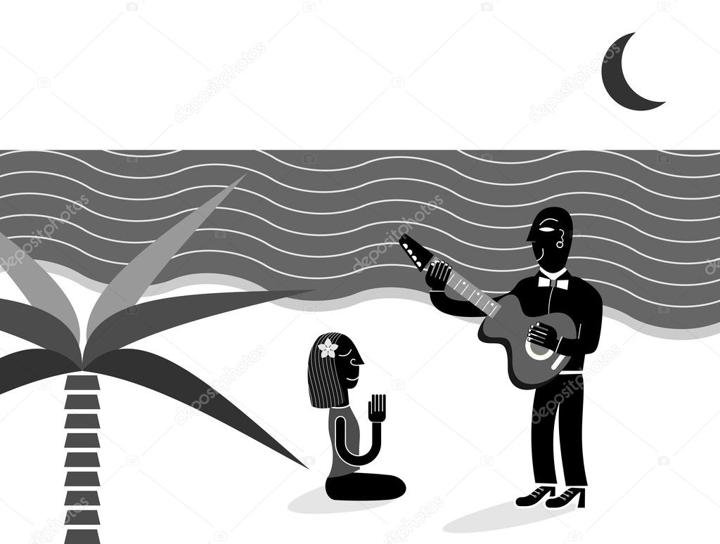 Beautiful woman on the beach and man playing guitar for her - vector illustration. — Stock Vector #6391025
