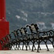 Row of benches — Stock Photo