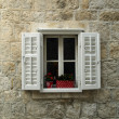 Window on stone wall — Stock Photo