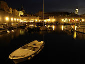 Dubrovnik harbor at night — Stock Photo