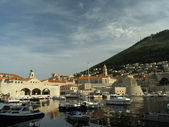 Dubrovnik harbor at dawn — Stock Photo