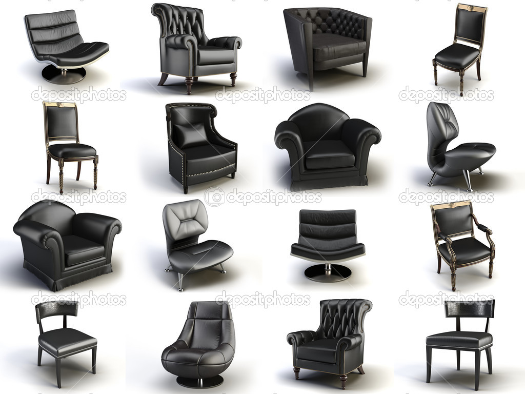 Black leather chair on the white background  Stock Photo #5635112