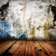 Old grunge wall and wooden floor in a room — Stock Photo #5400864