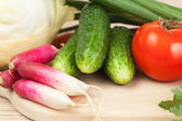Fresh vegetables on the hardboard. food cooking — Stock Photo