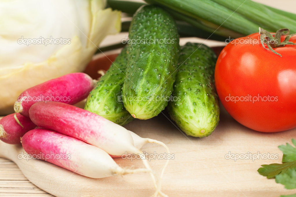 Fresh vegetables on the hardboard. food cooking — Stock Photo #6214458