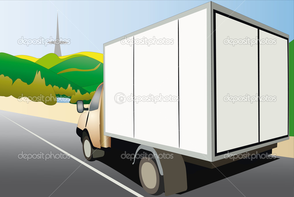 Vector illustration of van drives down the country road — Stock Vector #5599463