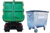 垃圾桶和卡车 — 图库照片