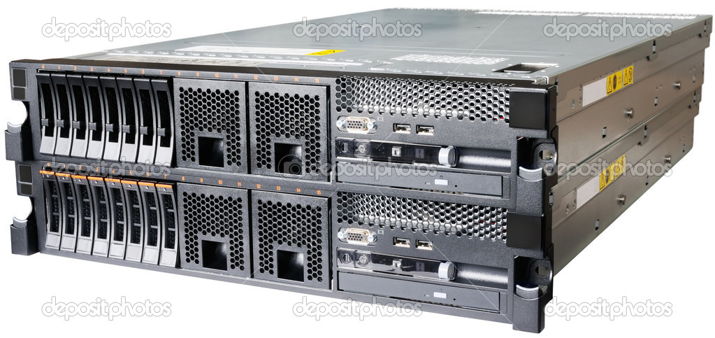 Two stacked rack mount servers isolated on the white  Stock Photo #5846168