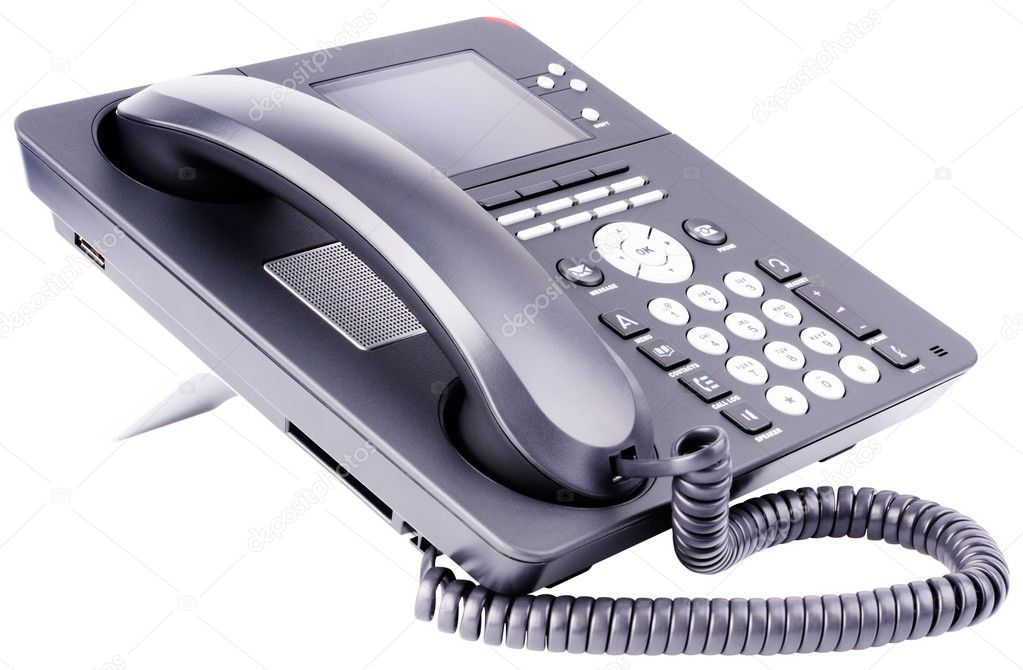 Office IP telephone set with LCD isolated on the white  Stock Photo #5895124