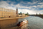 Sunset over Moscow river, Moscow — Stock Photo