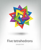 Five tetrahedrons — Stock Vector