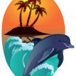 Stock Photo: Dolphin against tropical island.