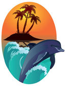 Dolphin against tropical island. — Stock Photo
