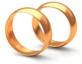 Two gold wedding rings — Stok fotoğraf