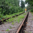 Walking Away Down Abandoned Railroad Track — Stock Photo