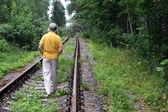 Walking Away Down Railroad Track — Stock Photo