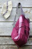 Khaki Hat and Purple Backpack — Stock Photo