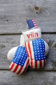 Boxing Gloves and Tiny US Flag — Stock Photo