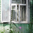 Open Window of Shabby Country House — Stock Photo