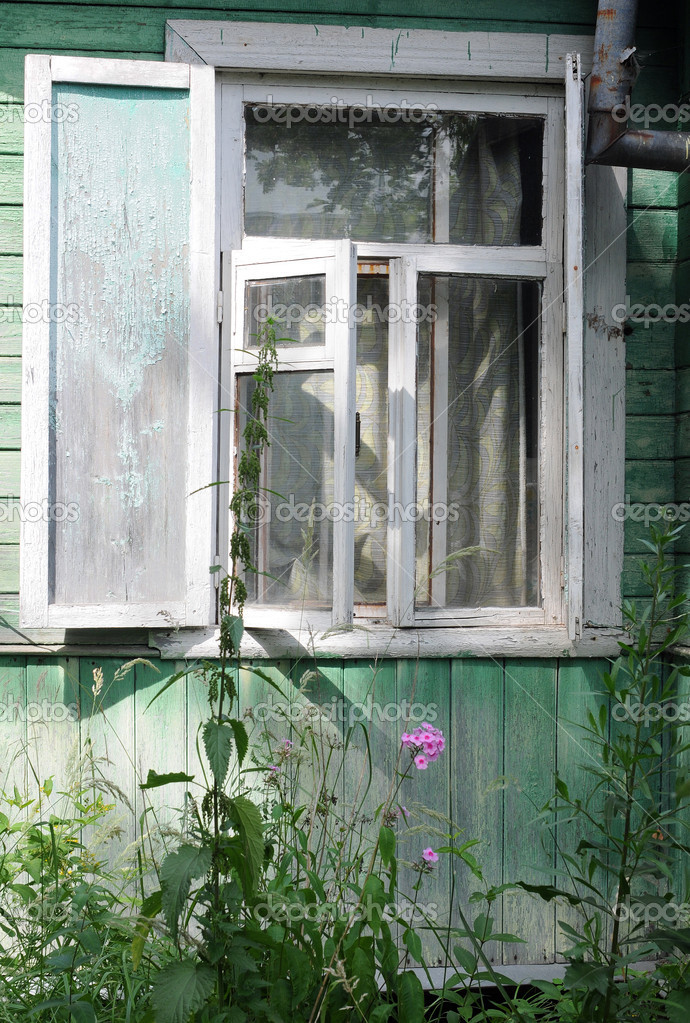 Open Window of Shabby Country House — Stock Photo ...
