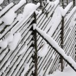 Fence Under Snow - Stock Photo