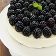 Blackberry cheesecake — Stock Photo