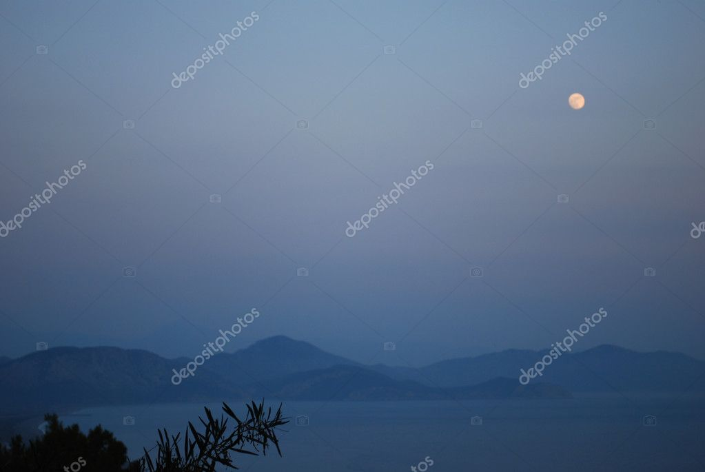 Night Landscape with Moon, Sea and Misty Mountains Far Away  Stock Photo #6079132