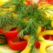 Cutted Pepper and Dill — Stock Photo