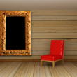 Wooden minimalist living room with red chair and picture frame - ストック写真