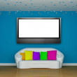 Blue minimalist living room with white couch with colored cushio — Stock Photo