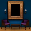 Two chair with table and empty frame and sconces in interior — Stock Photo