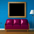 Purple couch, table, picture frame and standard lamp — Stock Photo