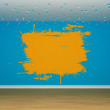 Stock Photo: Blue empty room with orange splash on wall