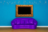 Purple sofa with picture frame in blue interior — Stock Photo